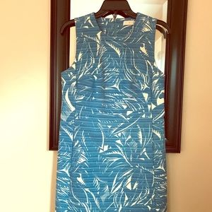 Tropical patterned aqua and ivory, cocktail dress.